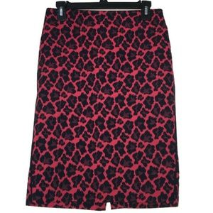The Limited Red & Black Animal Print Pencil Skirt
